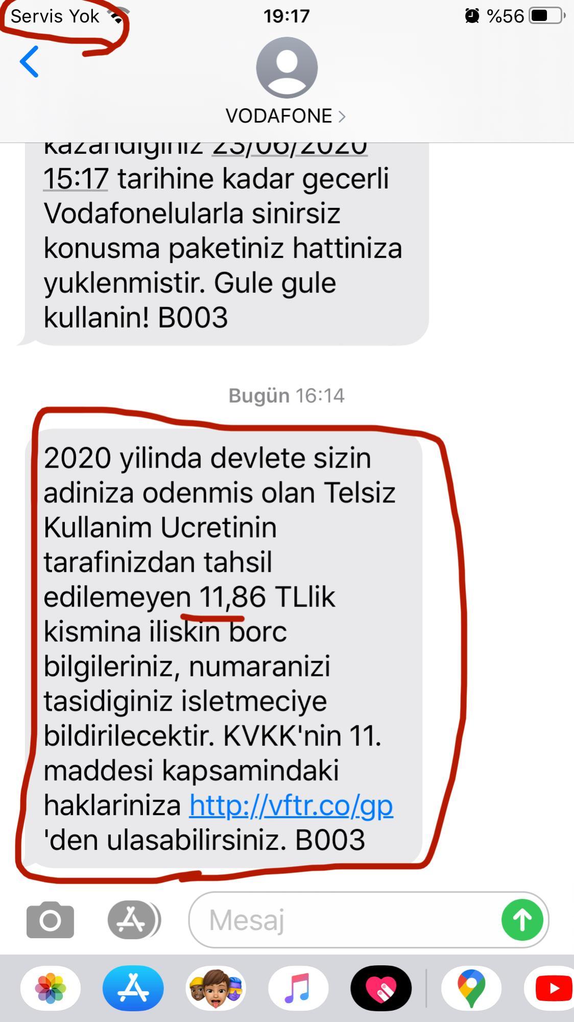 Vodafone Borç ve Telsiz Kullanım Ücreti Şikayetleri - Şikayetvar