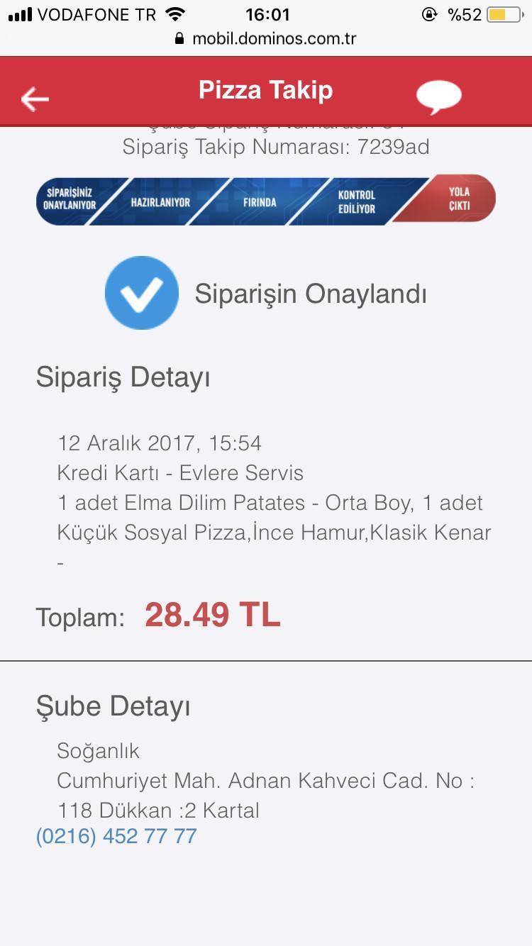 Dominos Pizzada Sipariş Toplamında Gözüken Tutarla Karttan çekilen